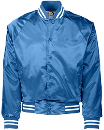 Unisex Striped Trim Satin Baseball Jacket