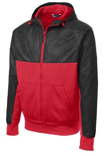 Embossed Hybrid Full-Zip Hooded Jacket