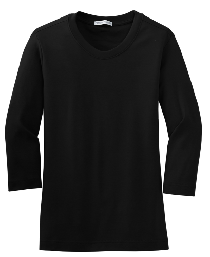 Ladies Modern Stretch Cotton 3/4-Sleeve Scoop Neck Shirt