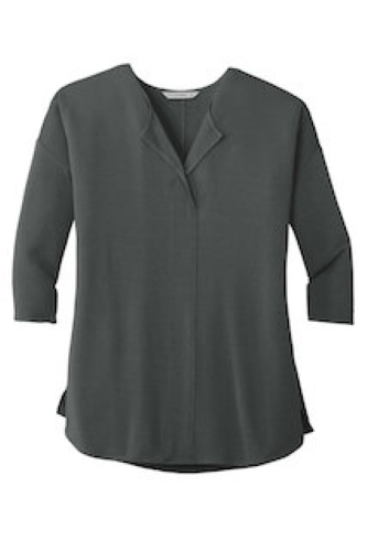 Ladies Concept 3/4-Sleeve Soft Split Neck Top