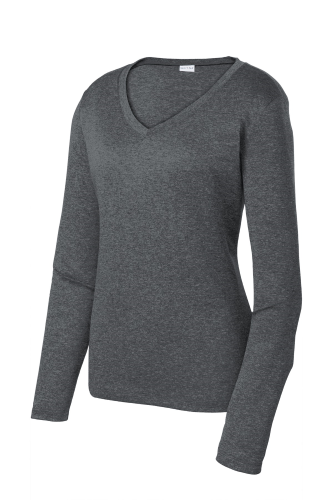 Sport-Tek Ladies Long Sleeve Heather Contender V-Neck Tee